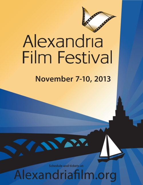Program cover and poster art for the Alexandria Film Festival 2013. Taking place November 7 through 10th in Alexandria, Virginia.